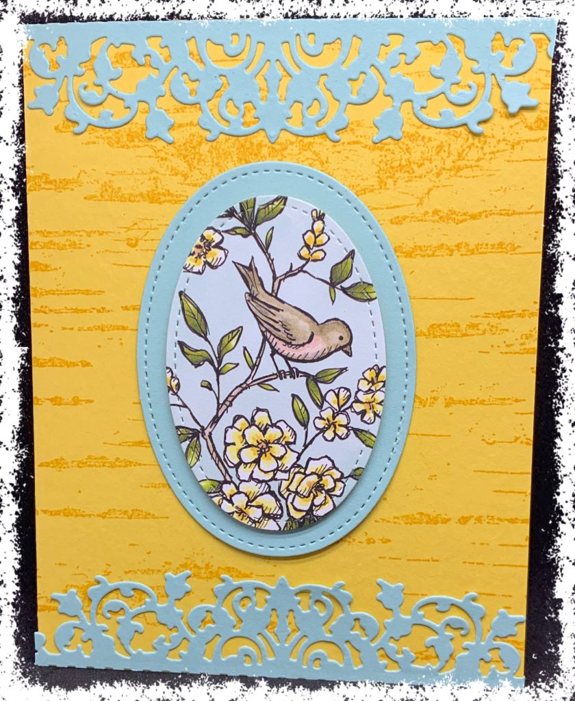 Bird Ballad with Delicate Lace Edgelit Card